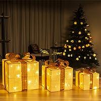 GIGALUMI Set di 3 scatole regalo illuminate con LED pre-illuminati con luci a LED bianche calde Pacchi natalizi con orpelli e fiocco per decorazioni natalizie