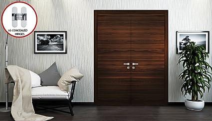 Planum 0010 Interior Double Door Chocolate Ash Without Casings (64u0026quot; X  80u0026quot;,