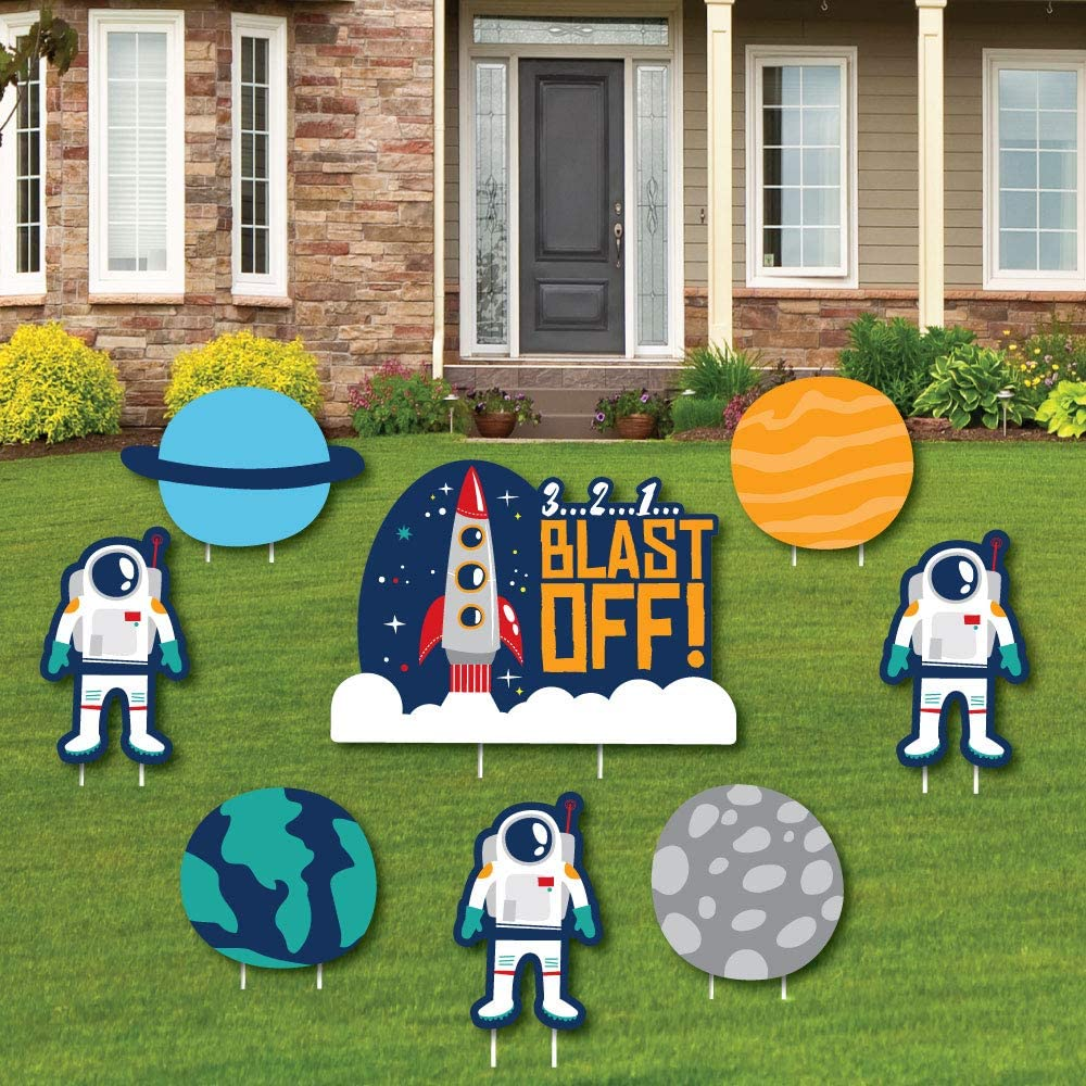 Blast Off to Outer Space - Yard Sign and Outdoor Lawn Decorations - Rocket Ship Baby Shower or Birthday Party Yard Signs - Set of 8