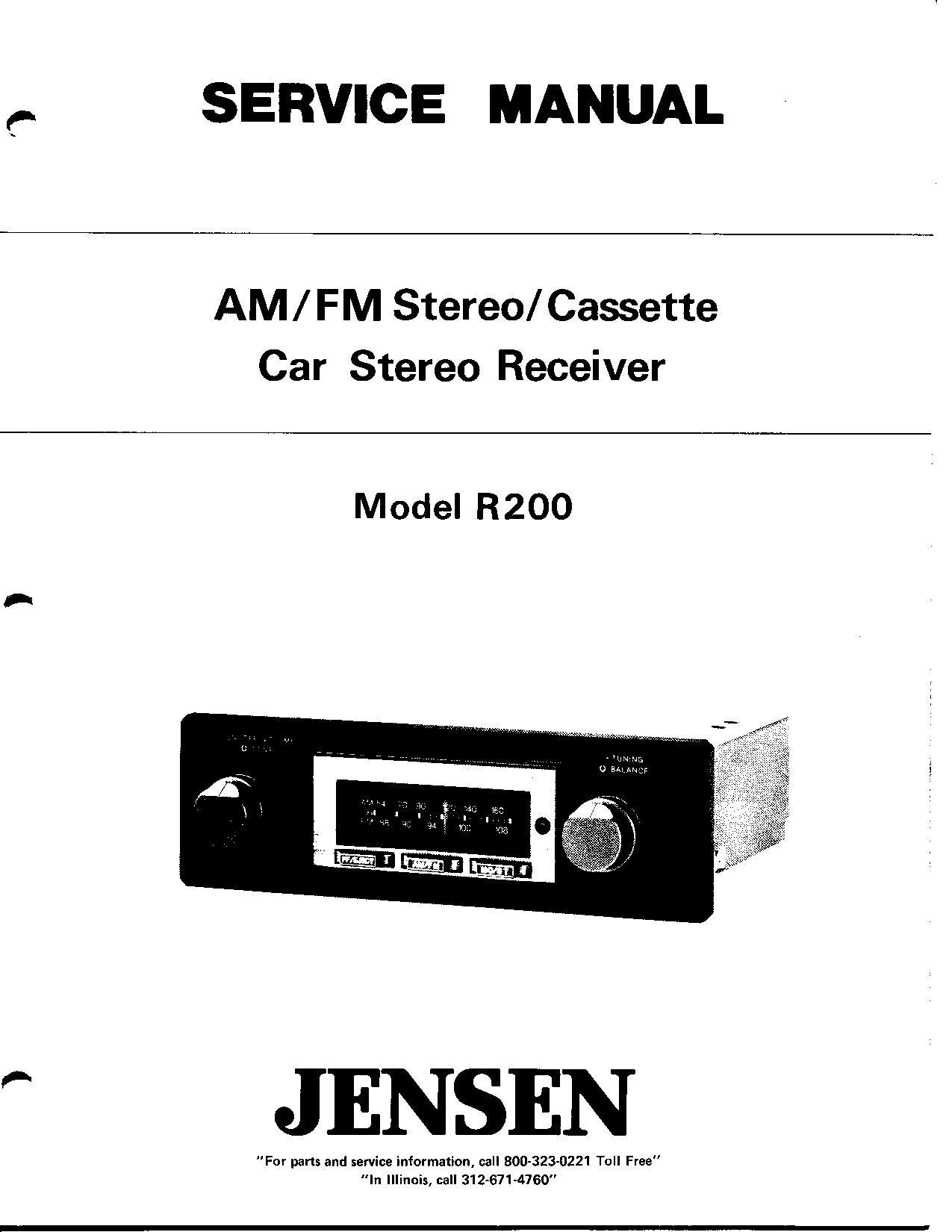 service manual for jensen r200 am fm stereo cassette car stereo rh amazon com dell r200 service manual dell r200 service manual