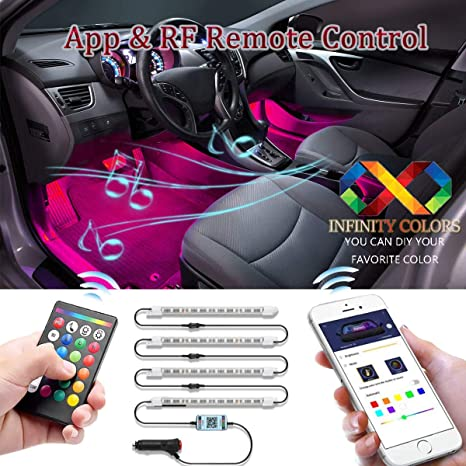 Car LED Strip Light,EJ's SUPER CAR Upgraded Remote and APP Two-in-one  Control Multicoloured Music Car Interior Lights, 4pcs 48 LED, Sound Active