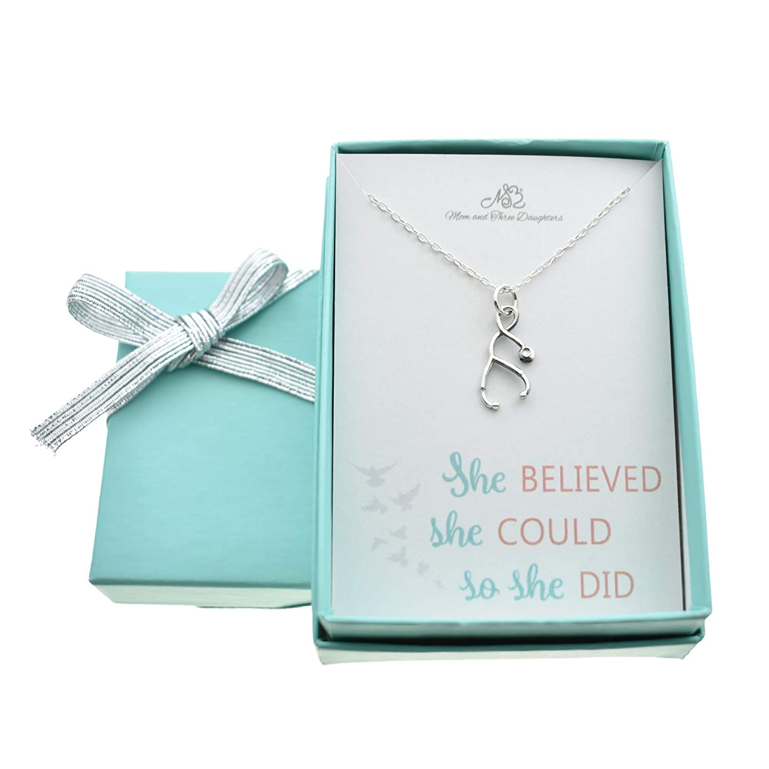 Gift for Nurse Necklace She Believed She could so she did Jewelry Best Selling Item Quote Charm Sterling Silver Vet Medical Stethoscope her