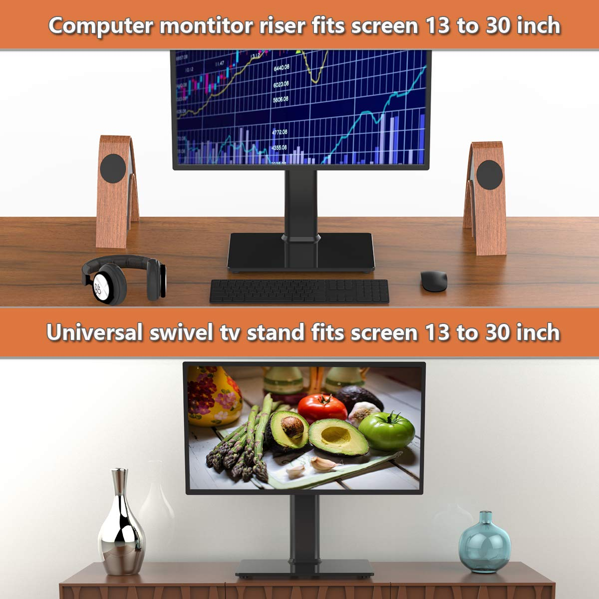 Single LCD Computer Monitor Free-Standing Desk Stand Riser for 13 inch to 32 inch Screen with Swivel, Height Adjustable, Rotation, Holds One (1) Screen up to 77Lbs(HT05B-001) by Hemudu (Image #3)