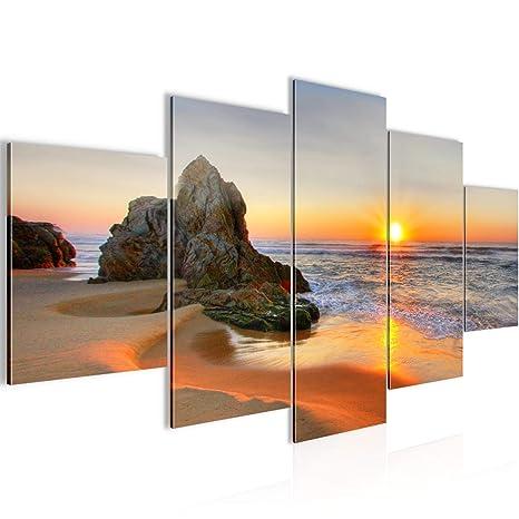 Bilder Sonnenaufgang Strand Wandbild 200 x 100 cm Vlies - Leinwand Bild XXL  Format Wandbilder Wohnzimmer Wohnung Deko Kunstdrucke Orang 5 Teilig - ...