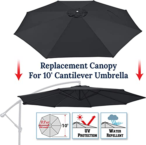 BenefitUSA 10ft Replacement Umbrella Canopy Outdoor Patio Umbrella Canopy 8 Ribs Canopy Only Black