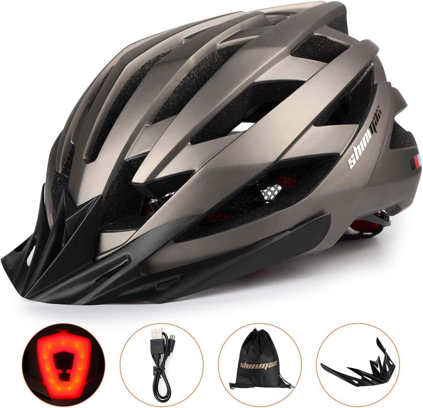 casco de bicicleta unisex con certificado CE para ciclismo al aire libre seguridad deportiva KINGLEAD Casco de bicicleta con luz de seguridad y visera de protecci/ón