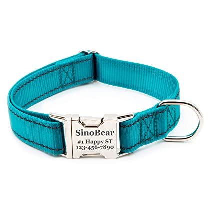 Reflective Dog Collar with Name Plate, Dog Collar Personalized with Pet  Name, Phone Number, Address Adjustable Size (XS SML)