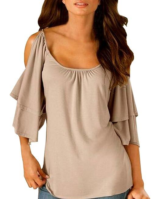 ZANZEA Mujeres Camiseta Blusa Casual Elegante Oficina Algodón Cuello Redondo Mangas Cortas Abiertas