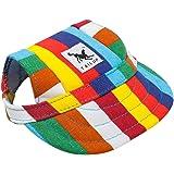 ペット用帽子 犬用帽子 猫用帽子 かわいい ハット ネックストラップ付き 耳の穴ある ペット用キャップ ハット 野球帽子 紫外線対策 アウトドア用 球 おしゃれ(マルチカラー L)