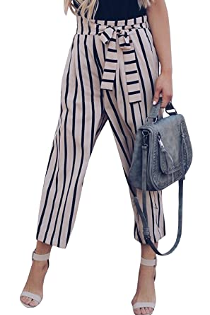 a51a5d01 Womens Elegant Belted Striped High Waisted Split Flowy Wide Leg Pants Grey  Black Navy at Amazon Women's Clothing store: