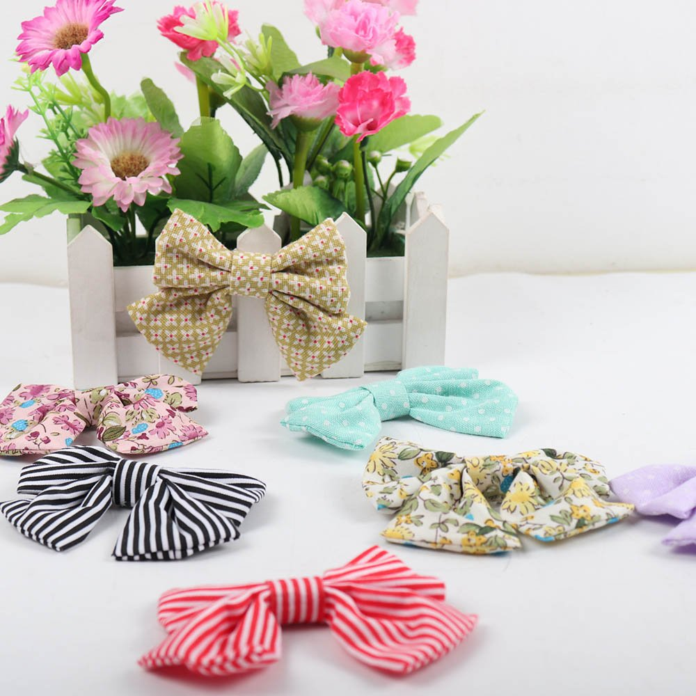 Oaoleer 10pcs 3.5'' Fabric Ribbon Hair Bows with Clips for Baby Toddler Girls Teens by Oaoleer (Image #6)