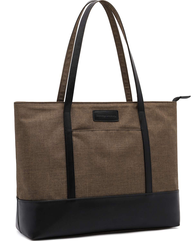 Laptop Tote Bag,Fits 15.6 Inch Laptop,Womens Lightweight Water Resistant Nylon Tote Bag Shoulder Bag (B-Brown)