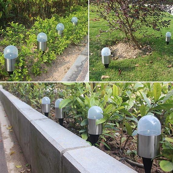 Luz de jardín solar, Jorft 4 Pack Luz de suelo accionada por energía solar Iluminación de paisaje para cubierta de sendero de césped Uso exterior de blanco cálido: Amazon.es: Iluminación