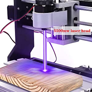 MYSWEETY DIY CNC 3018-PRO 3 Axis CNC Router Kit with 5500mW 5.5W Laser Module + PCB Milling, Wood Carving Engraving Machine with Offline Control Board + ER11 and 5mm Extension Rod (Tamaño: cnc kit)