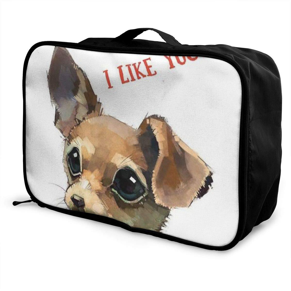 ADGAI Chihuahua Canvas Travel Weekender Bag,Fashion Custom Lightweight Large Capacity Portable Luggage Bag,Suitcase Trolley Bag