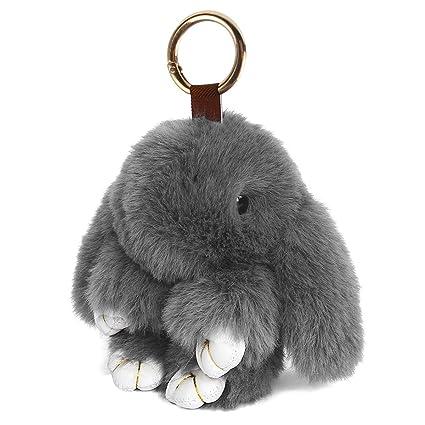 Latinaric Llavero de peluche de conejo, llavero de coche anillo dominante del coche monederos bolsos accesorios