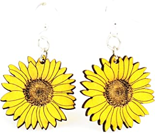product image for Green Tree Jewelry Detailed Sunflower Earrings #1475 Lemon Yellow