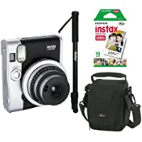 Câmera Instantânea Fujifilm Instax Mini 90 Preta + Filme, Bolsa e Monopé