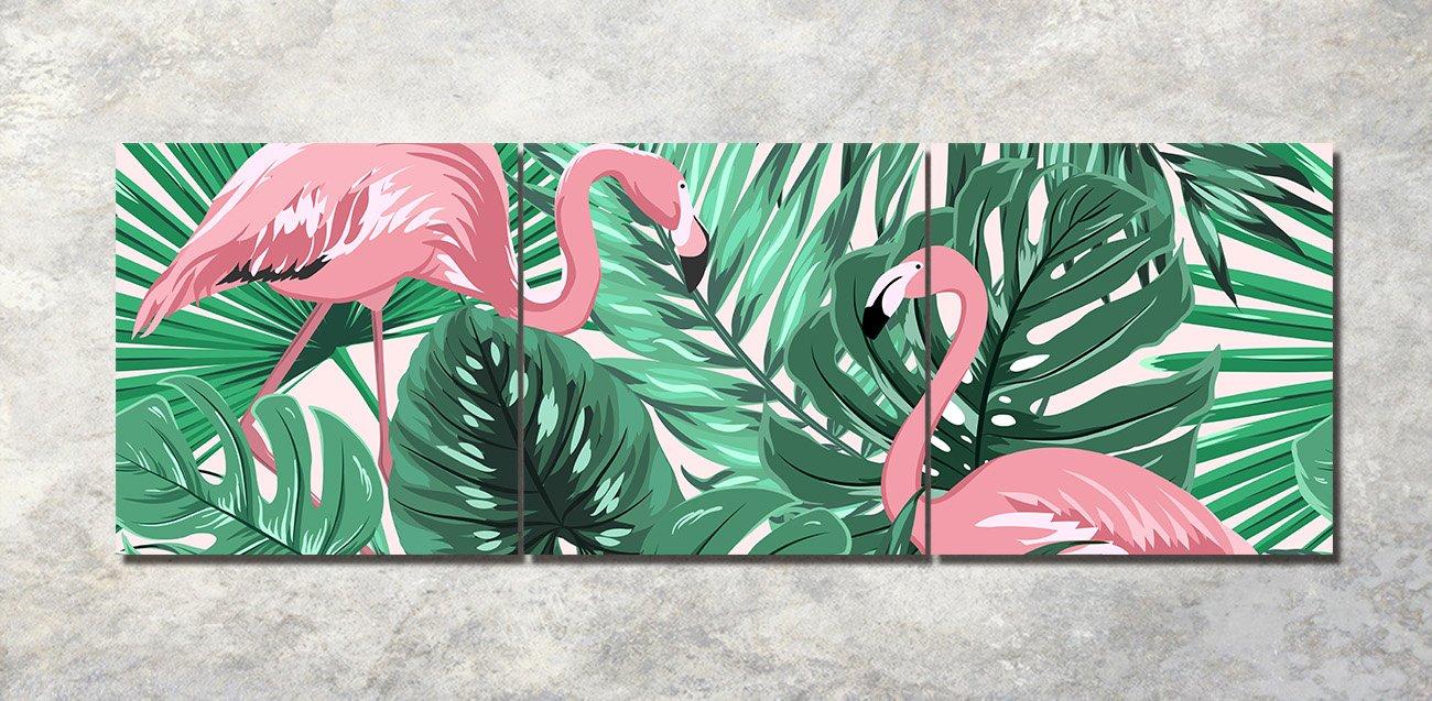 Plantas tropicales,hojas de palma,flamenco,blanco,verde,rosa_Cuadro ...