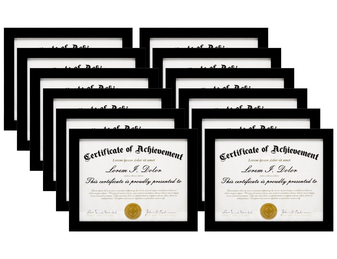 MeiC 12 Pack 8.5x11'' Certificate Document Photo Frames for Desktop Standing Wall Hanging Black