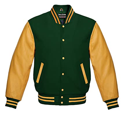 Varsity Forest Green Wool And Genuine Gold Leather Sleeves Letterman Jacket by Faneca Fashion
