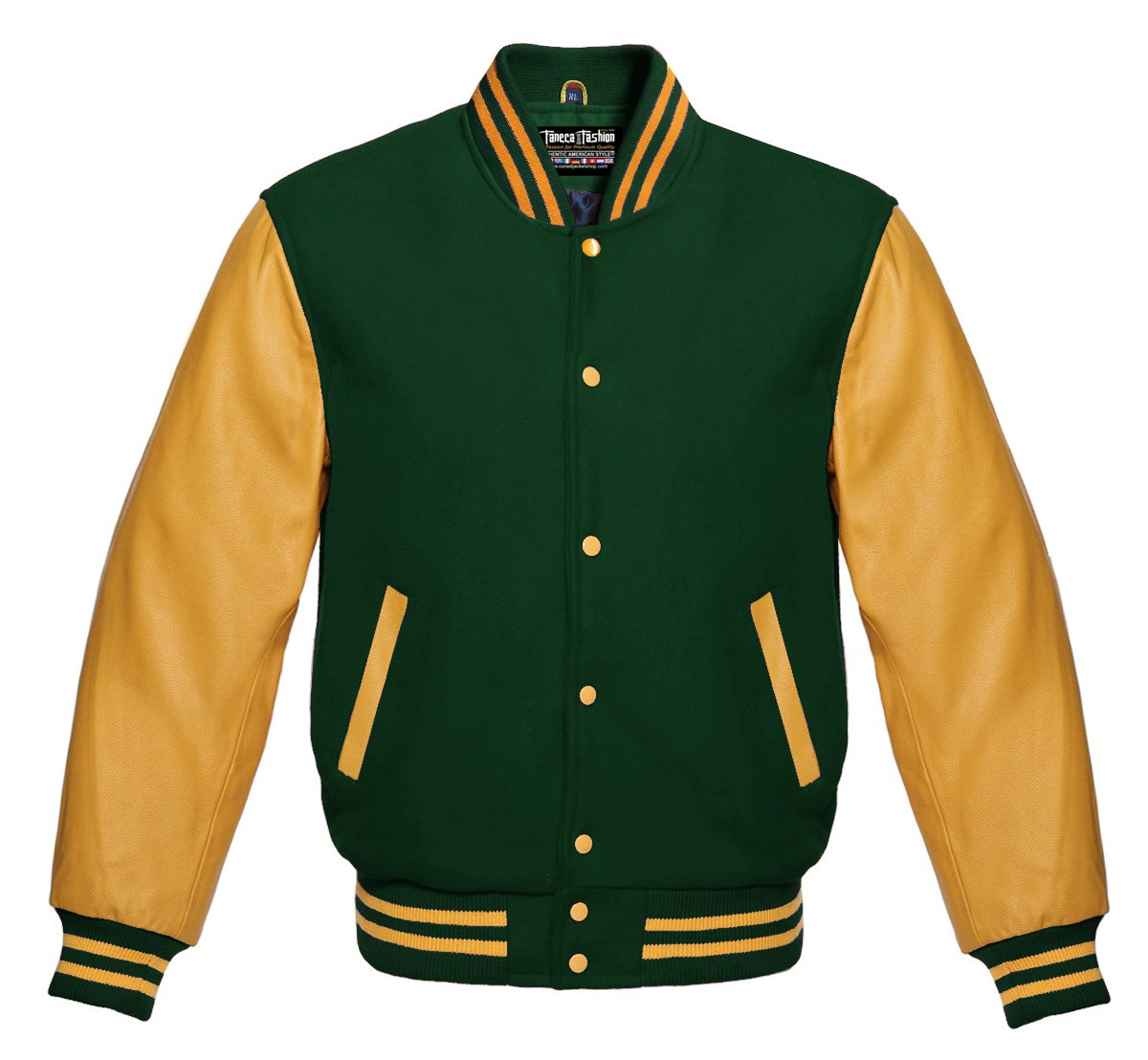 Varsity Forest Green Wool and Genuine Gold Leather Sleeves Letterman Jacket (2X Big, Forest Green/Gold)