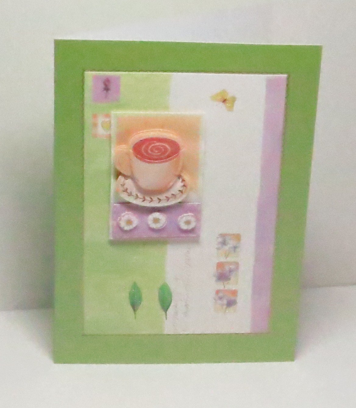 Leaves /& Butterfly Blank Greeting Card with Glittered Highlights /& Gold Border on Lime Green Pearlescent Base Limited Edition For Any Occasion Handmade 3D Cup of Tea with Flowers