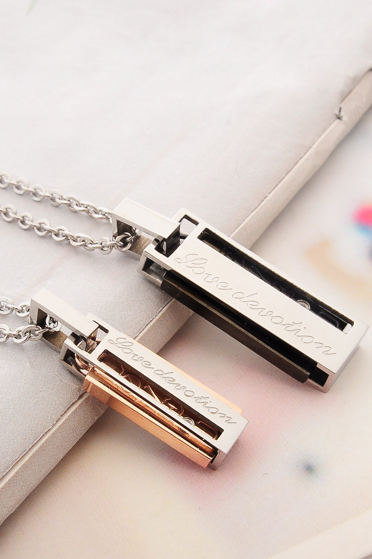 Thai Love Your Love Dedication, Unique Necklace Pendant Couple Lover Men Women Suit Short Clavicle Chain Steel Gift Accessories by PAGIPEN