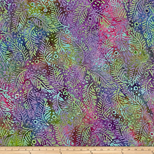 (Textile Creations Indian Batik Fern Dots Aqua/Purple/Blue Fabric by The Yard,)