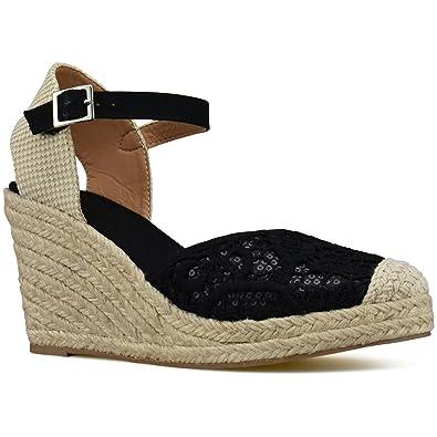 252e4a9d9c45 Premier Standard - Women s Peep Toe Ankle Strap Buckle Espadrille Wedge  Sandals