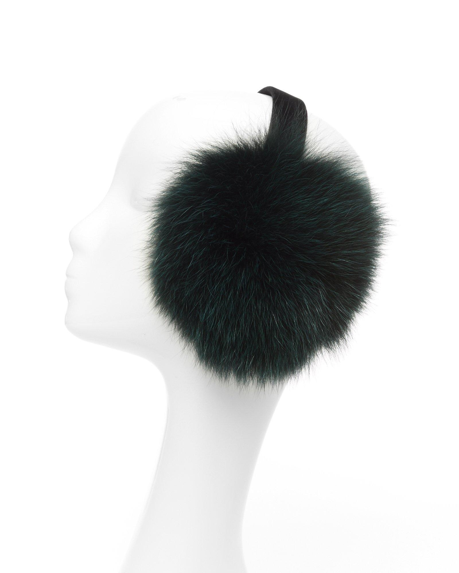 Evergreen Dyed Fox Fur Earmuffs