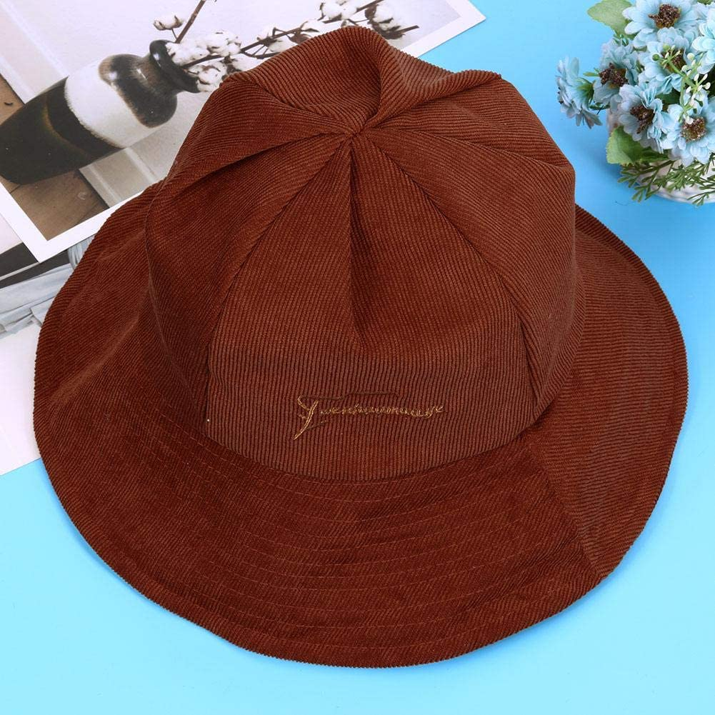 Alloet Fashion Women Solid Color Letter Print Hats Casual Corduroy Bucket Cap