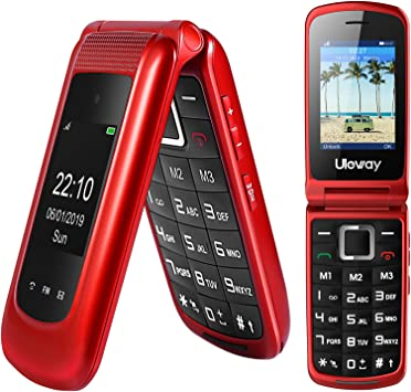 2G Sim gratis Senior teléfono móvil desbloqueado,Dual Sim Flip Phone,SOS Big Button Teléfono móvil para ancianos fácil de usar (rojo)