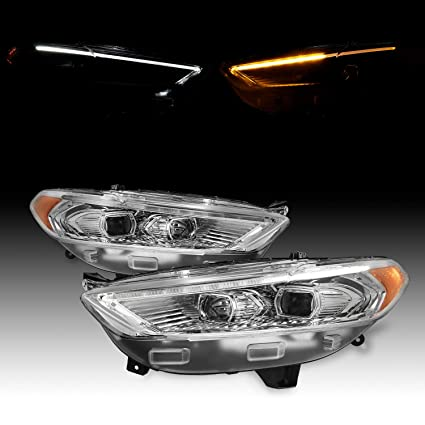 For 2013-2016 Ford Fusion LED DRL Chrome Bezel Dual Projector Headlight  Switchback Signal Lamp Assembly Left + Right