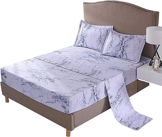4pcs Marble Bed Sheet Set 1800 Count Egyptian Sheet Deep Pocket Hypoallergenic