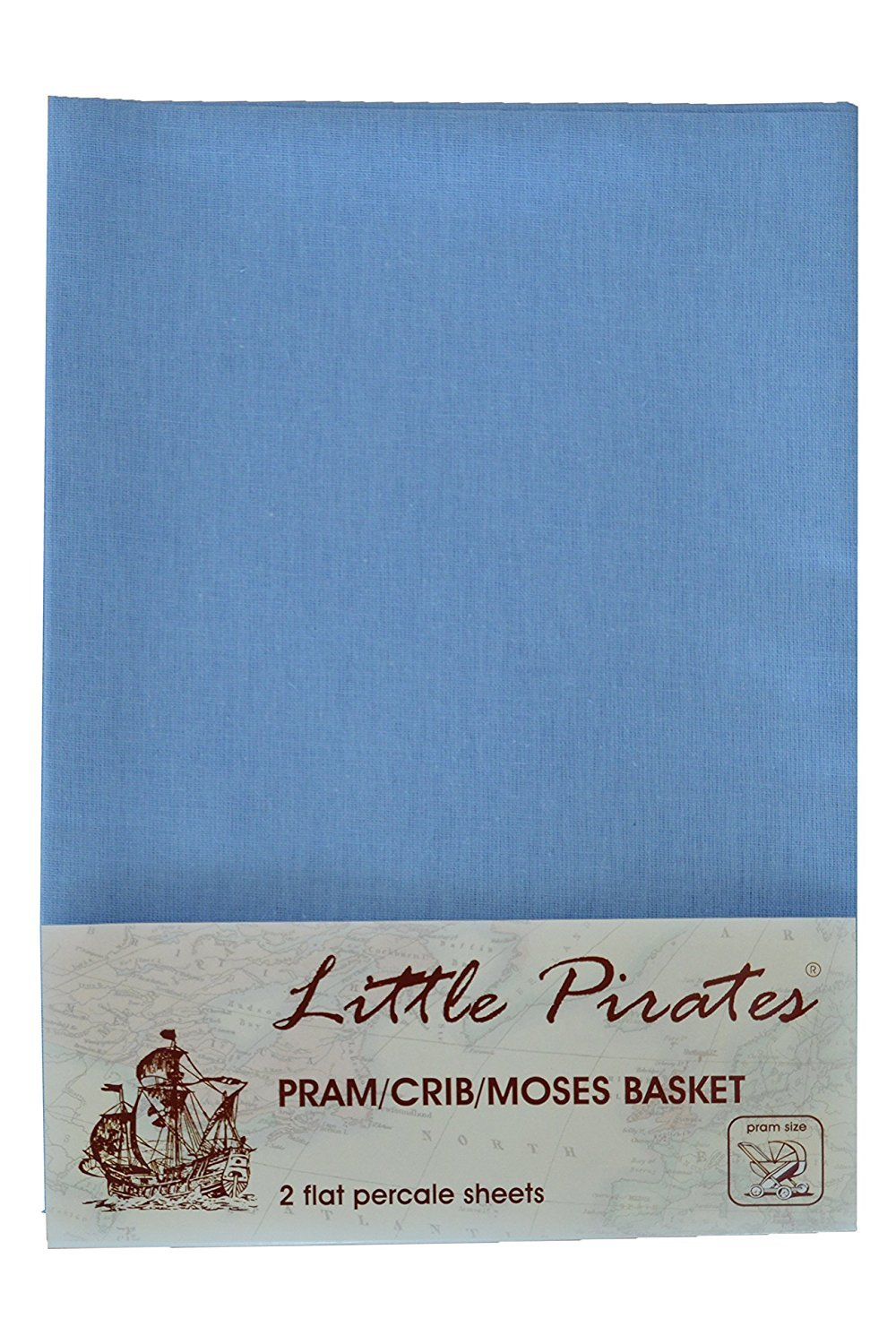2 x Baby Pram/Crib/ Moses Basket Flat Sheet 100% Cotton Blue Little Pirates