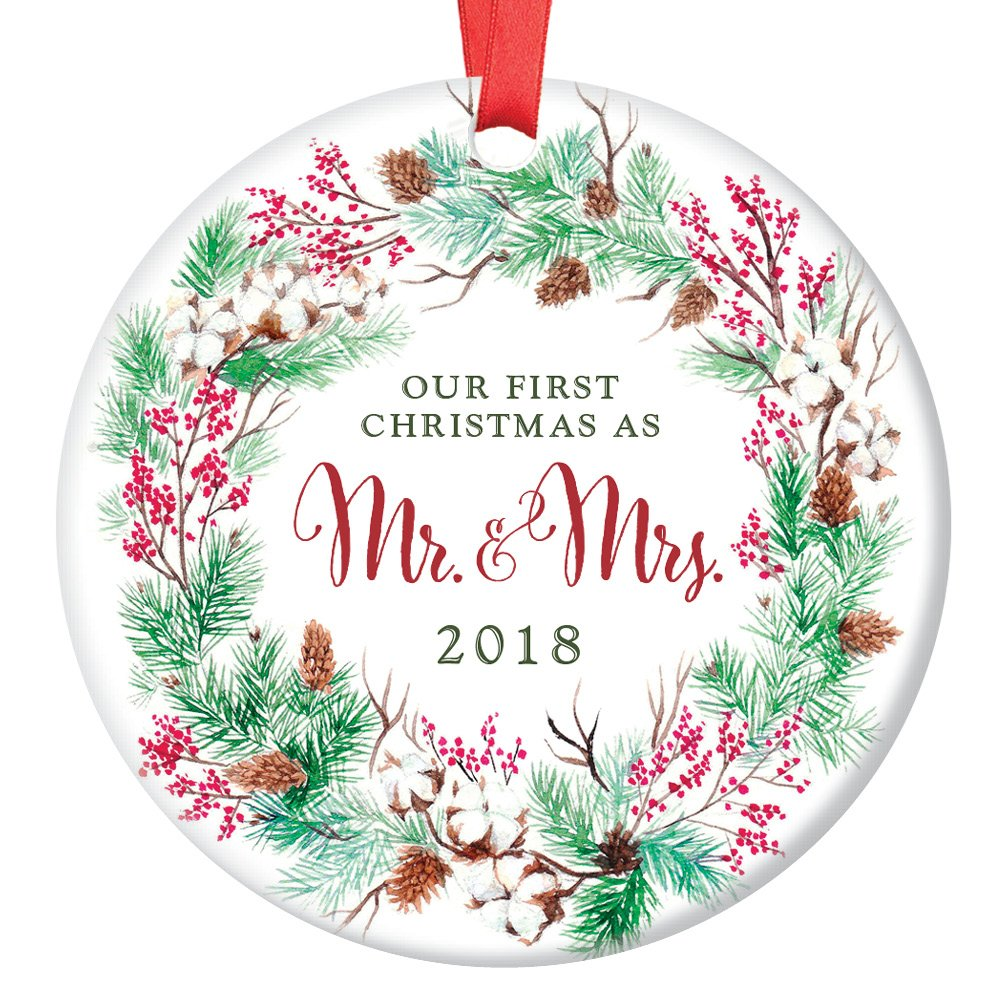 Amazon.com: Our First Christmas as Mr & Mrs Ornament 2018, Wreath ...
