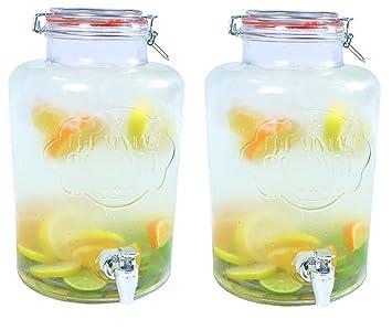 Dispensador de bebidas de cristal grande de 7,6 l con tapón de agua,