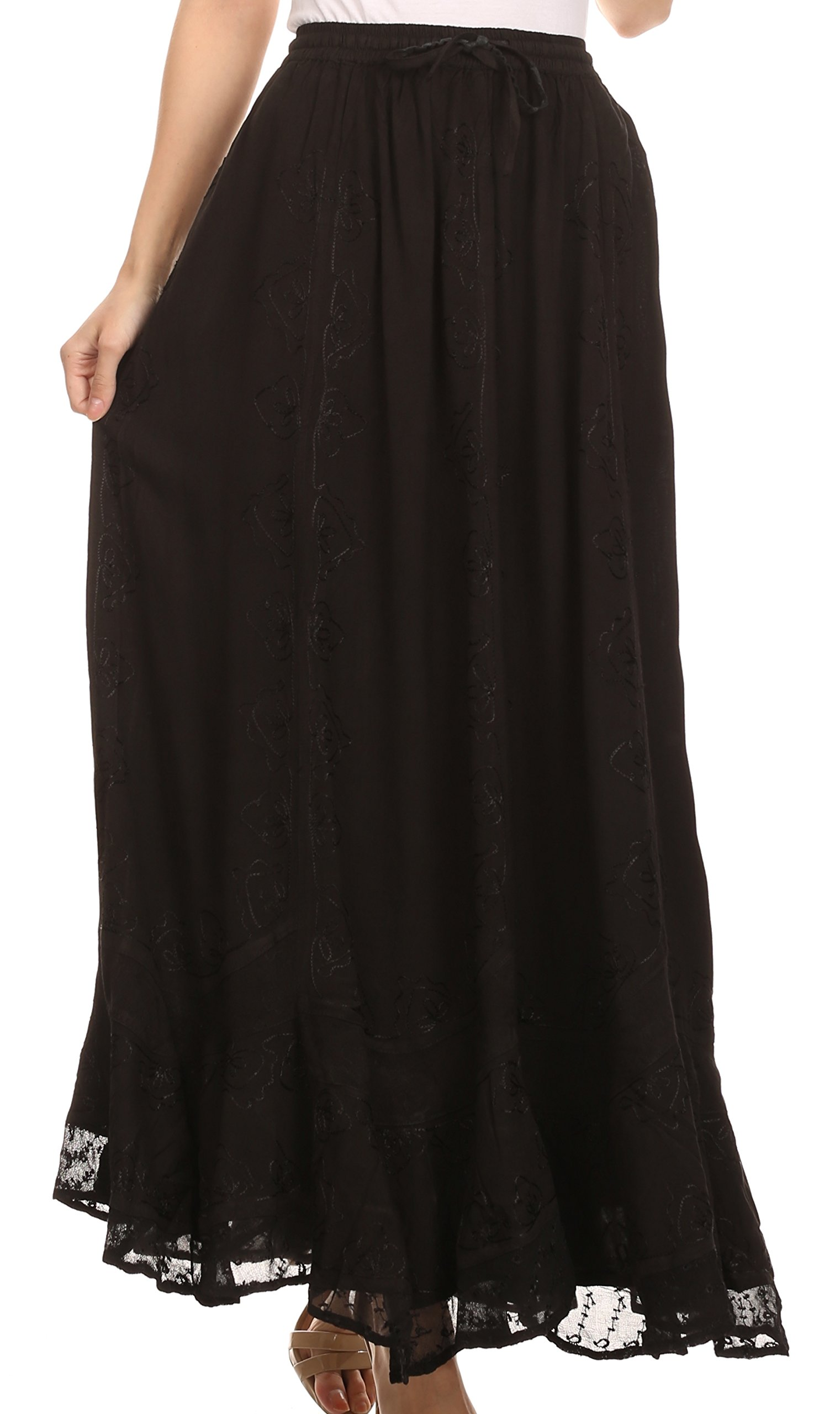 Sakkas SK16319 - Jaclyn Adjustable Skirt With Lace Embroidered Trim And Detailed Embroidery - Black - OS