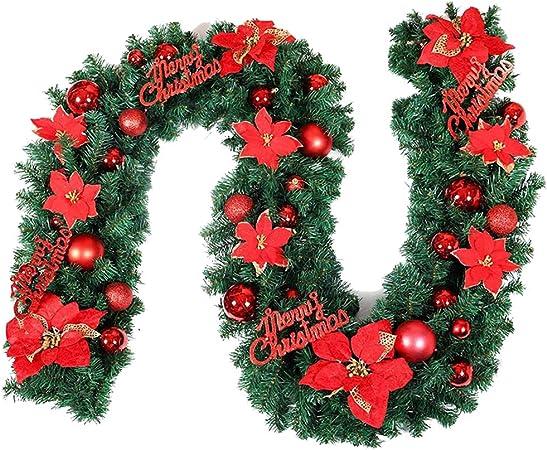 HAIYANG 2.7M Guirnalda de Navidad para chimeneas de escaleras Guirnalda de Navidad Guirnalda Decoraciones Artificiales de árboles de Navidad Red: Amazon.es: Hogar