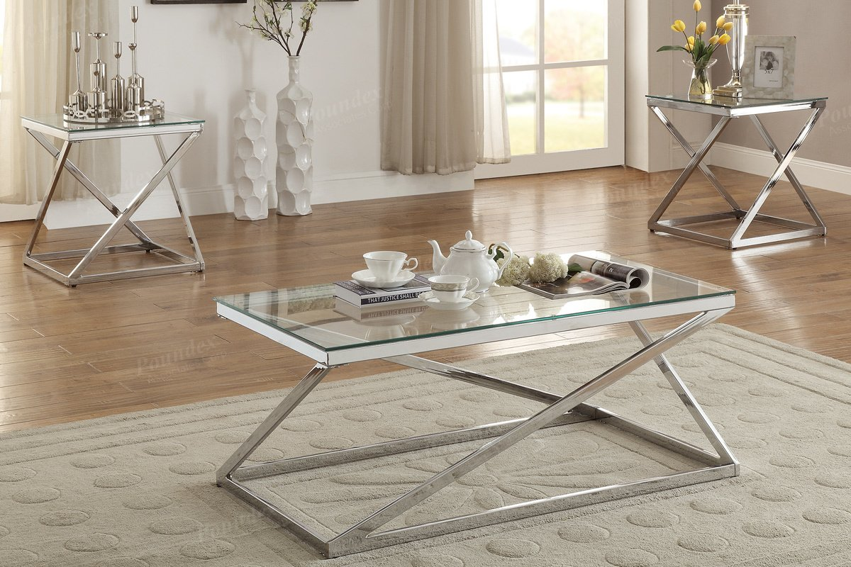 3PCS Modern Coffee End Set with bright silver chromed finished frame supports the clear tempered glass tabletops by Advanced Furniture