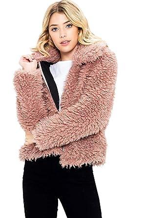 e2f4eab43 Sneak Peek Jeans Women's Faux Fur Teddy Bear Jacket at Amazon ...