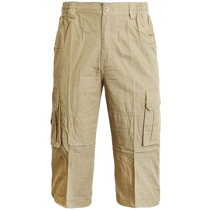 Men/'s Cotton Gym Summer Sports Cargo 3//4 Shorts Half Pant Elasticated Waist Band