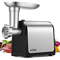 Aicok Electric Meat Grinder, Sausage Maker Stainless Steel Meat Mincer & Sausage Stuffer, Heavy Duty Food Grinder Including Sausage Making Kit, Blade Kubbe Attachment for Home Use Commercial, ETL Approved