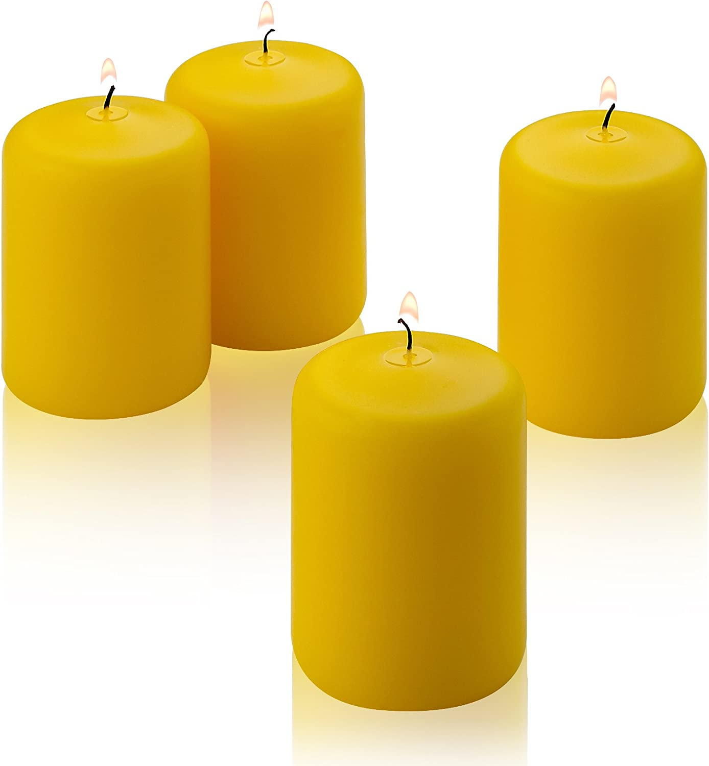 6 inch Tall Made in USA Citronella Pillar Candle Set of 4 Summer Scented Yellow Citronella Candles 2 inch Thick 36 Hour Burn Time for Indoor//Outdoor Use