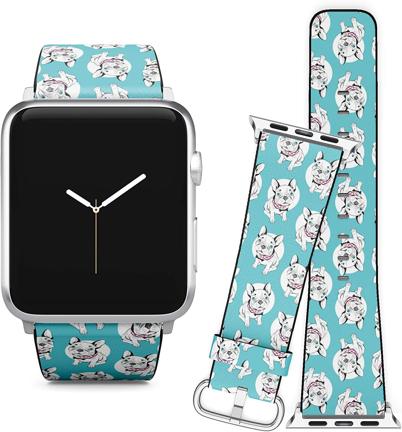 Compatible with Apple Watch iWatch (38/40 mm) Series 5, 4, 3, 2, 1 // Soft Leather Replacement Bracelet Strap Wristband + Adapters // French Bulldog On