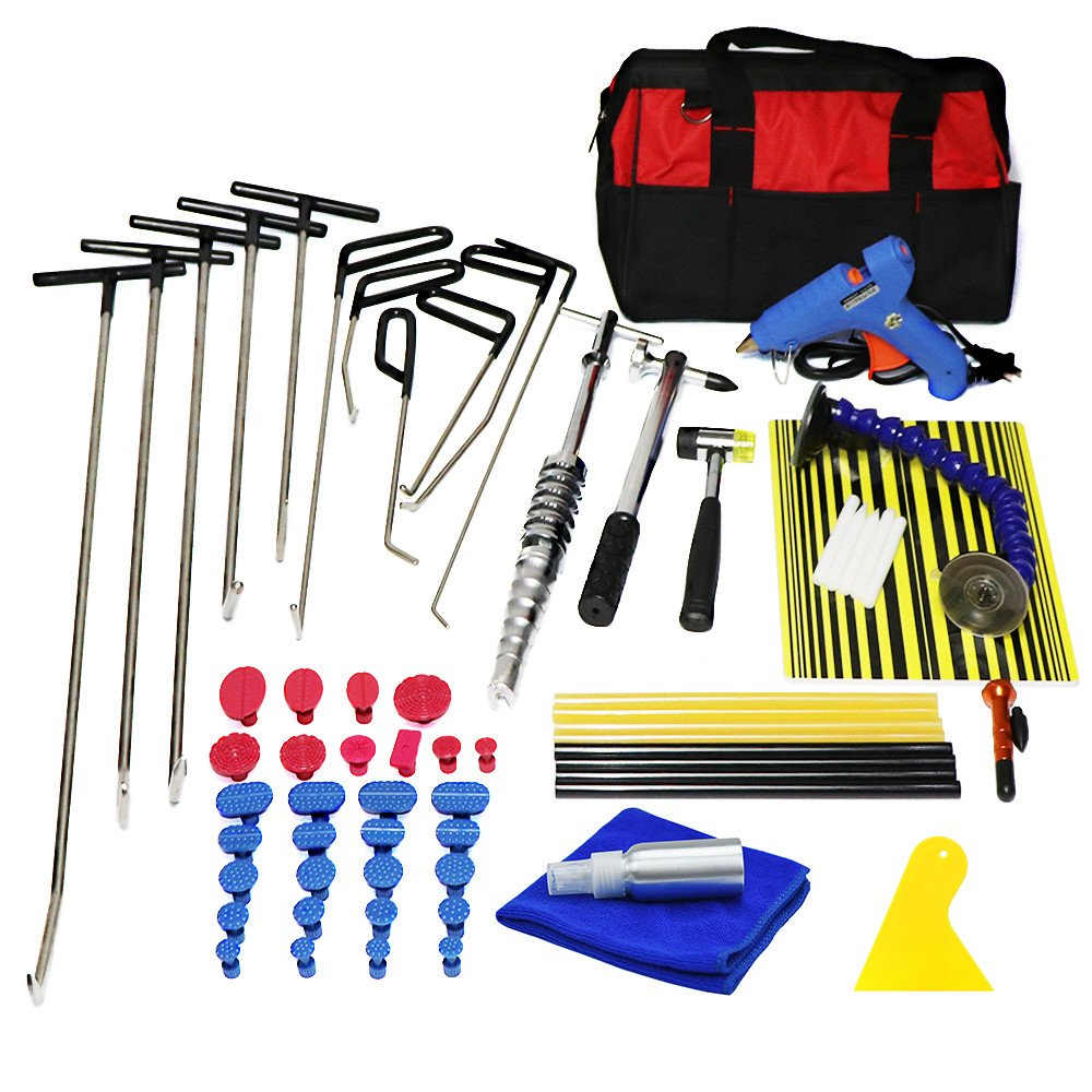 Furuix PDR Kit PDR Rods Hook Tools Paintless Dent Repair Kit Car Dent Repair Dent Removal Reflector Board Dent Puller Lifter Glue Gun Tap Down Tool