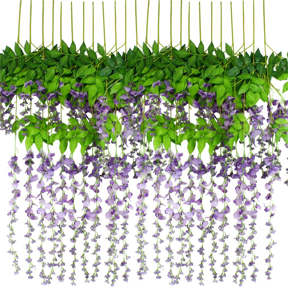 Wisteria Flowers Fake Wisteria Silk Wisteria Hanging Wisteria Flowers 12 Pack 3.6 Feet/Piece Purple Wisteria Artificial Flowers for Outdoor Wedding Ceremony Arch Party Home Garden Decor(Ordinary)