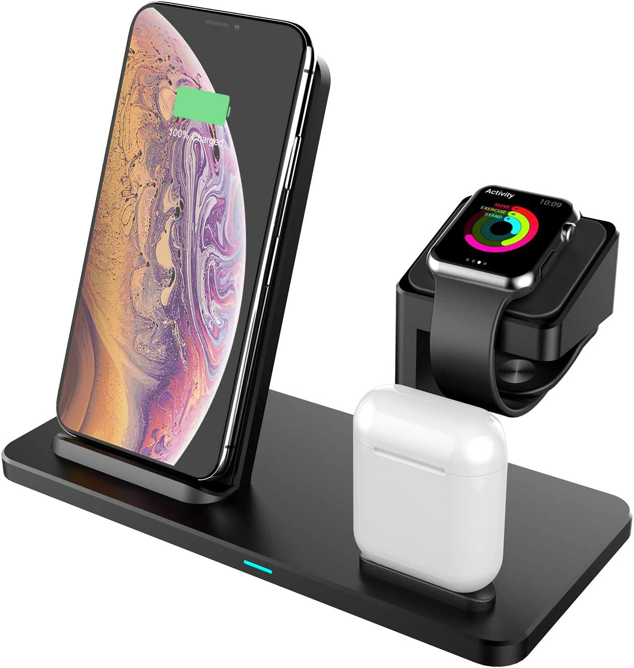 ?MFi Certified? 3 in 1 Charging Dock Station for Apple Watch/Airpods, KZY Fast Wireless Charger Charging Stand for iPhone 11/X/XR/XS/XS MAX/8/8 Plus and All Other Qi Phones-QC3.0 Adapter Included