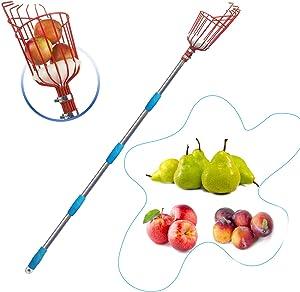 HOSKO 13FT Fruit Picker Tool, Lightweight High-Grade Stainless Steel Adjustable Fruit Picker with Metal Twist-on Basket, Suit for Apple Pear Cherry Mango Guava Orange Avocados Etc Fruit Picking